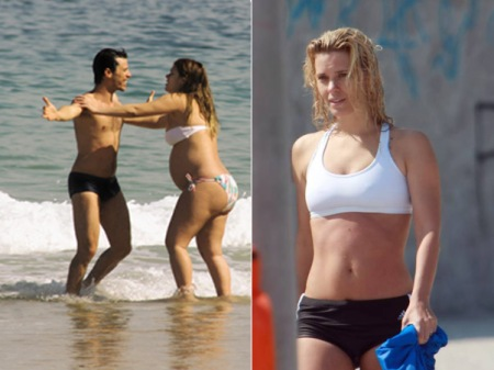 Carolina durante e depois da gravidez de José